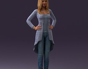 3D print model Woman in jeans blue plaid coat 0536
