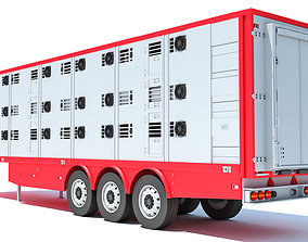 Animal Transport Trailer 3D model cow