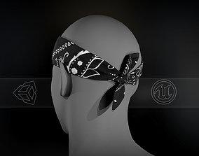 3D asset game-ready Black Paisley Bandana
