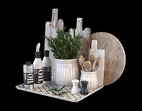 Kitchen decoration set with rosemary and cutting boards 3D