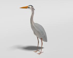 3D model Low Poly Cartoon Great Blue Heron