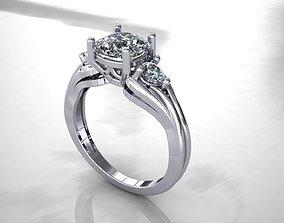 Unique round stone ring 3D print model