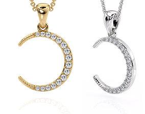 Jewelry Pendant Moon with stones Printable model