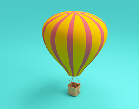Low-poly cartoon Air Balloon 3d model game-ready