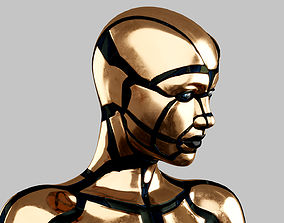 3D model Rigged GOLDEN ANDROID Female