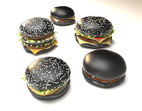 vegetable Black burgers collection 3D model