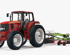3D Tractor with Twin Rotor Rake Claas Liner 2700 Rigged