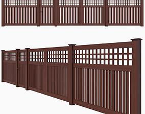 3D model Wooden Fence 06