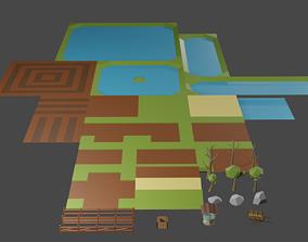 3D model Low poly Rural Village Set