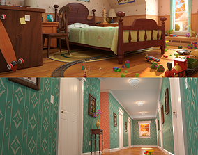 Cartoon Corridor Bedroom 3D