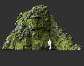 3D model Low poly jungle mossy modular rock 7