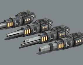 3D model Railgun set Low-poly