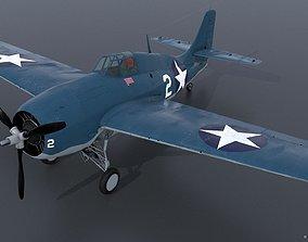 GRUMMAN F4F-3 WILDCAT VMF-222 3D model rigged