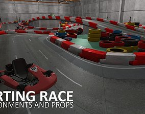 Karting race - environments and props 3D asset