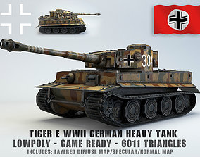 3D asset Low Poly Tiger Ausf E heavy tank