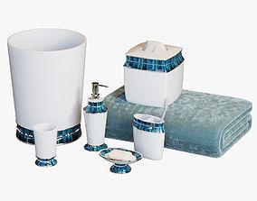 Chic Aqua Trim Bath Accessories 3D