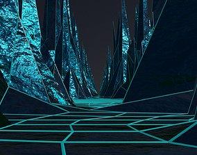 Retro-futuristic landscape 80s style 3D animated