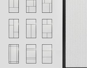 3 Glass partition door Set 9 partition models 3D