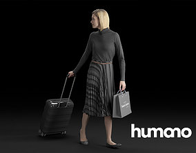 Humano Elegant Woman in skirt Walking with a 3D model 1