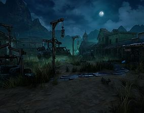 3D model VR / AR ready Wild West Ghost Town of Fogmourn