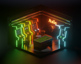 3D asset low poly arcade room