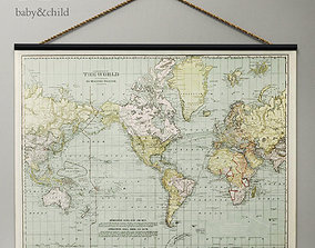 high 3D model VINTAGE WORLD MAP TAPESTRY