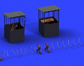 3D model Post Apocalyptic Barbed Wire and Shed