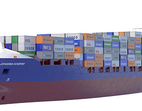 140 m Container Ship 3D