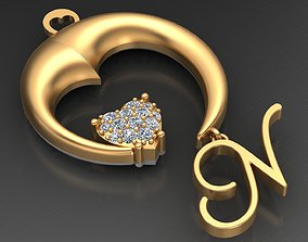 Heart N Letter Diamond Gold Pendant 3D printable model