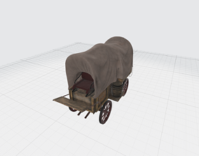 Covered wagon hestoric 3D model