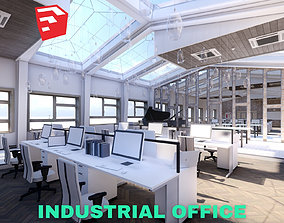 3D asset Industrial Office on Attic with Skylights Scene 1