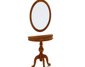 3D model Wooden Mirror With Table