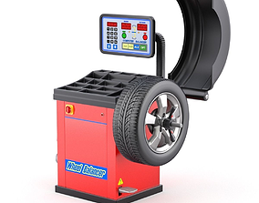 Wheel Balancer With Car Wheel 3D