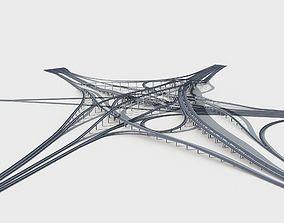 Highway Viaduct flyover 3D model-4