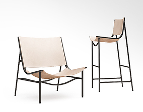 Lounge Chair GH and Bar Stool in Blackened 3D model