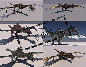 Dragon Pack 6 in 1 3D model rigged
