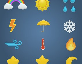 Weather Cartoon Icons 3D model