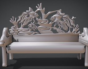3D printable model Unique Long Chair Ornament with Fish 1