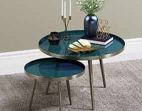 Enamelled Tables with Decor items 3D model