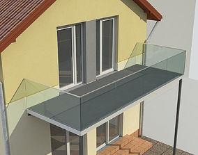 Balcony and railing 3D model