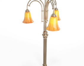 3D model Classic Post Light with three arms