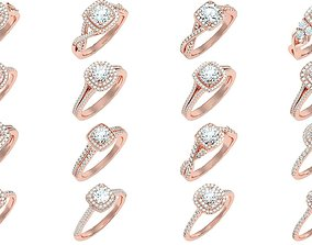 268 Halo solitaire wedding engagement women ring 3D