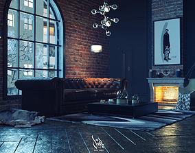 3D model living room mixed new classic