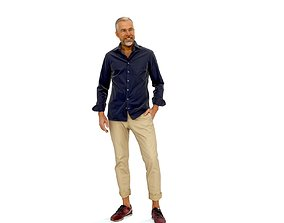 Standing Smiling Casual Man CMan0337-HD2-O01P01-S 3D