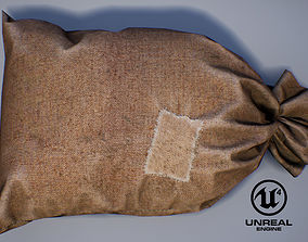 3D asset old Bag from burlap with patch PBR Game-Ready