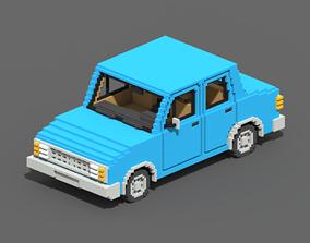 3D asset Voxel Sedan Car