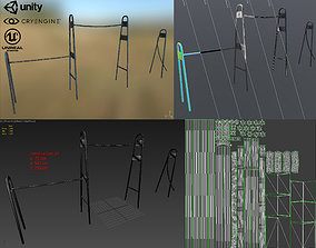 Outdoor workout equipment horizontal bar 3D asset