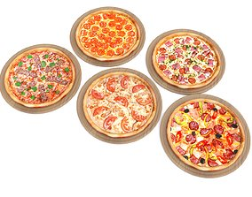 5 Pizza pack 3D asset