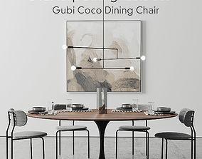 Oval Tulip Dining Table 78 inch walnut set 3D