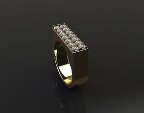 Double Row Diamond Narrow Bar Ring 3D printable model 3